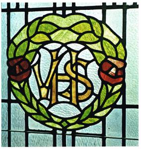 A stained glass window installed in 1920 in memory of the Victoria High School students who fell during the First World War. Courtesy of Victoria High School Archives